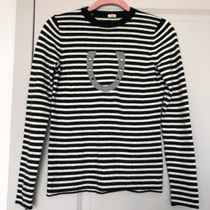 Jcrew Striped Cashmere Horseshoe Tee Sweater